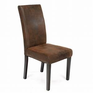 Chaise De Salon Design : chaise de salon aspect cuir vieilli achat vente chaise cuir bois h v a massif cdiscount ~ Teatrodelosmanantiales.com Idées de Décoration