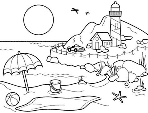Beach Landscapes With Lighthouse Coloring