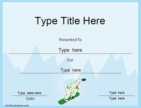 sports certificate snowboard certificate template