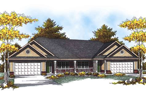 Traditional Ranch Duplex Home Plan