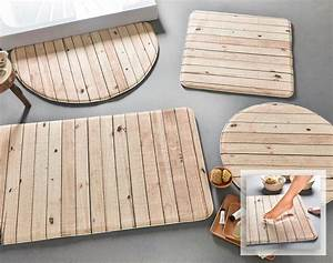 Tapis De Bain Bois : tapis de bain m moire de forme imitation bois 240 g m becquet ~ Melissatoandfro.com Idées de Décoration