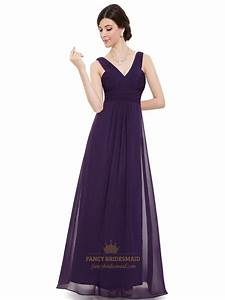 purple long chiffon v neck sleeveless bridesmaid dresses With purple long dress for wedding