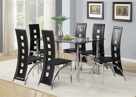 black glass dining room table set      faux
