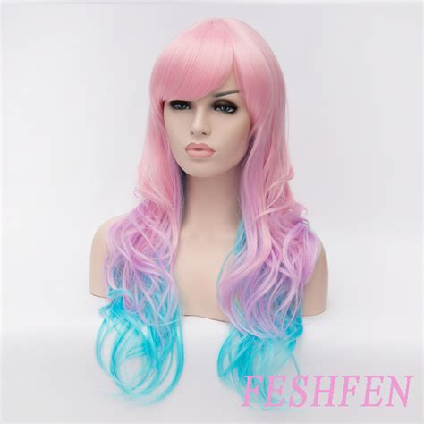 colorful wigs colorful wavy highlights costume wig mermaid wig