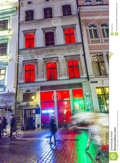 facade of a night club in krakow editorial image image