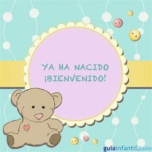 Imprimir Tarjeta infantil para celebrar un nacimiento Tarjetas para anunciar el nacimiento del