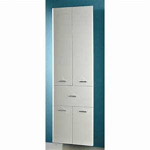 Meuble Colonne Tiroir : colonne salle de bain 4 portes 1 tiroir hauteur 186 cm neville ~ Teatrodelosmanantiales.com Idées de Décoration