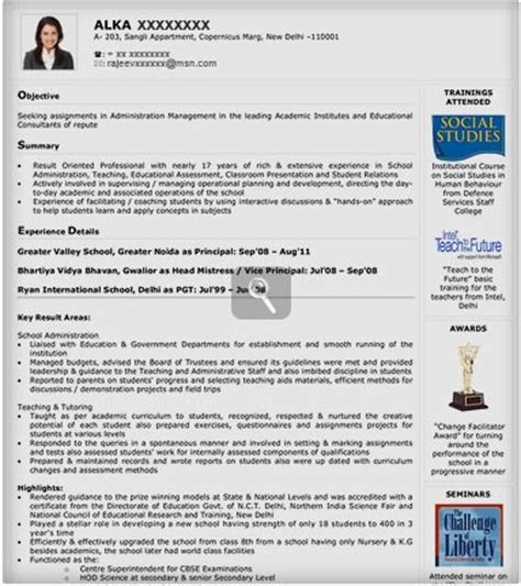 Visual Resume Templates For Freshers by Visual Resume Sles Visual Resume Templates Visual