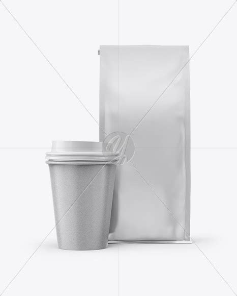 Mockup of three coffee cups with customizable lids. Download Matte Bag with Kraft Coffee Cup Mockup - Front ...