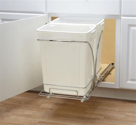 double garbage can cabinet double pull out trash can in cabinet trash cans