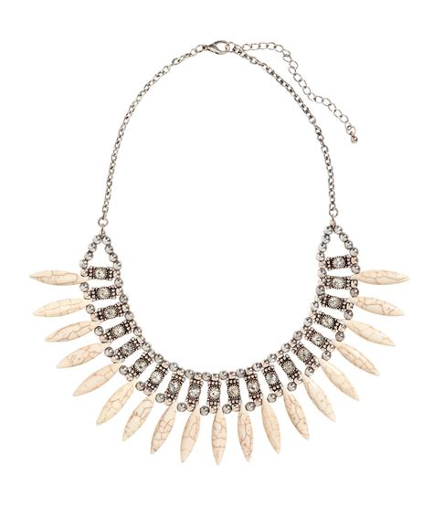 H&m Necklace With Stone Beads In Metallic Lyst