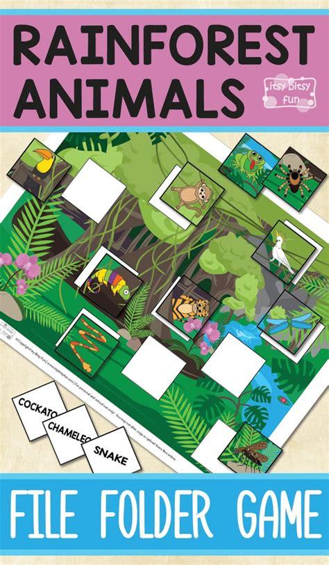 printable rainforest animals file folder game itsy bitsy fun