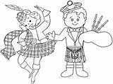 Coloring Scottish Cartoon Dance Pages Scotland Learning Territories Culture sketch template
