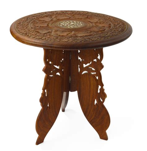 hand carved end tables table indian hand carved and inlaid side table chairish