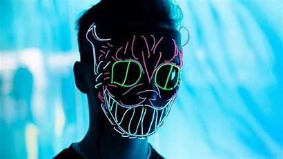 Neon Mask Glow 4k Wallpapers Anonymous Blur