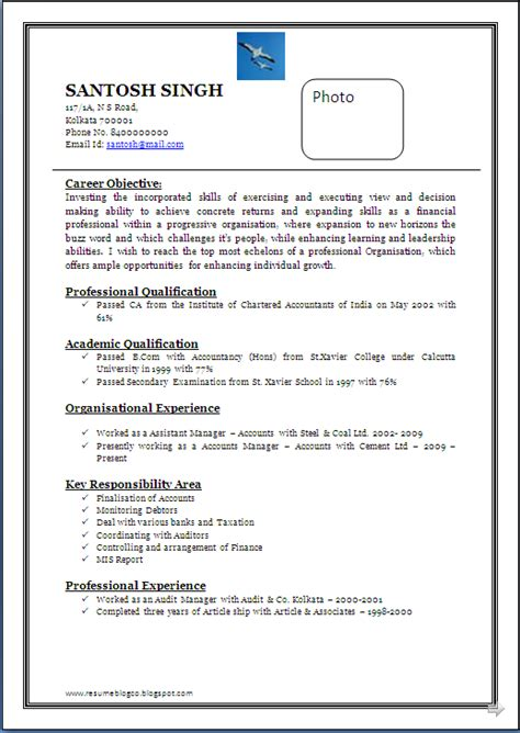 attractive resume format  freshers