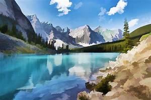 Moraine Lake At Banff National Park Painting by Jeelan Clark