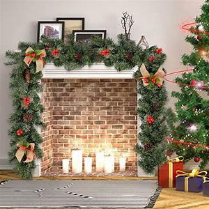 9ft, Christmas, Garland, Decorations, Imperial, Green, Pine, Fireplace, Wreath, Ornaments