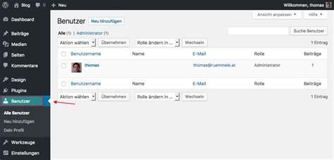 Der Wordpress Admin Bereich