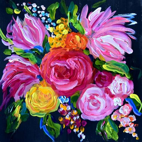 Abstract Black Flower Painting by New Small Abstract Flower Painting Wedding Bouquet 12