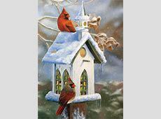 Cardinals and Church Birdhouse Victoria WilsonSchultz