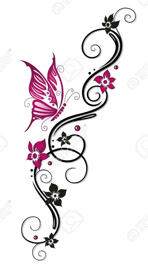 pink butterfly  black flowers tattoo design