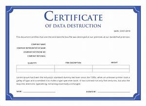 printable certificate template 46 adobe illustrator With free certificate of destruction template