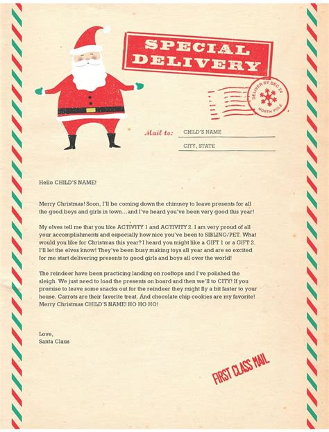 santa letter templates kid ideas pinterest