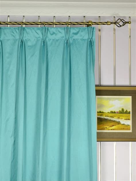 waterfall solid blue pinch pleat faux silk curtains