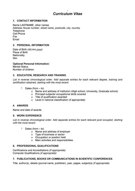 Easy Curriculum Vitae Format Template Example 2017 Basic
