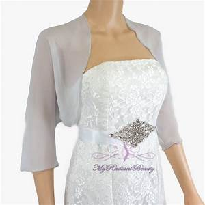 bridal silver grey chiffon jacket wedding bolero jacket With silk dress and jacket for wedding