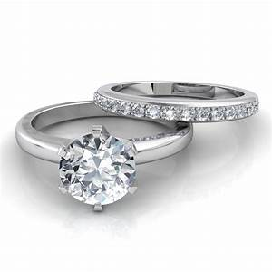 Six prong solitaire engagement ring pave wedding band for Engagement rings and wedding bands sets