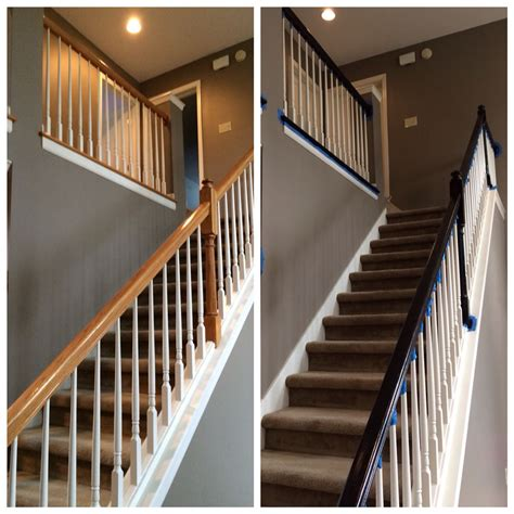 banister railing painted banister railing to match updated floors minwax