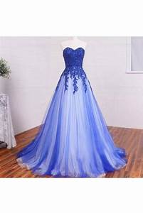 Options Light Chocolate A Line Sweetheart Lace Appliques Long Blue White Prom