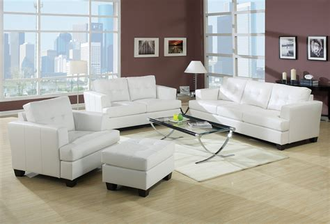 white livingroom furniture 2pc sofa set white bonded leather living room sectionals