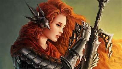Warrior Female Wallpapers Fantasy Wallpaperaccess Holding Hero