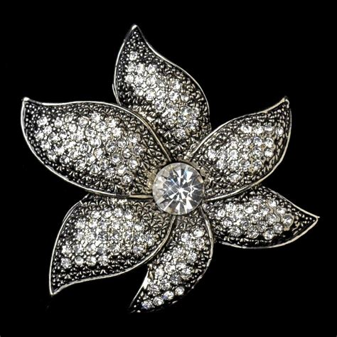 Sparkling Antique Silver Rhinestone or Diamond White
