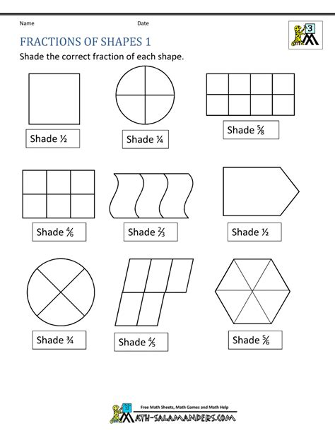 fraction shape worksheets