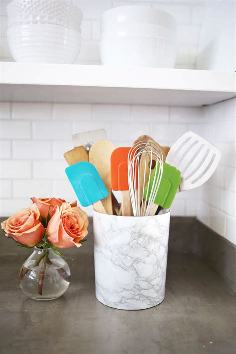 diy kitchen utensil holder try this easy marble utensil holder diy a beautiful mess Diy Kitchen Utensil Holder