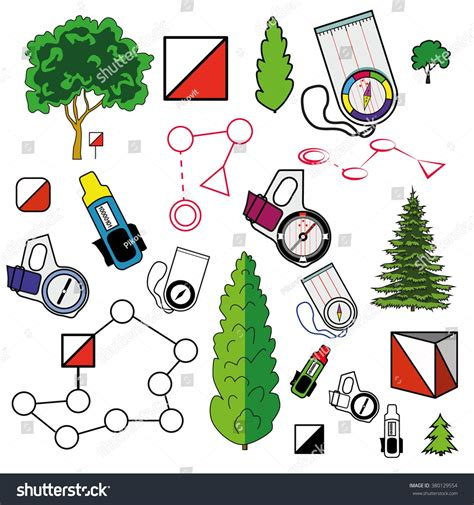 sports orienteering icons set  elements control points