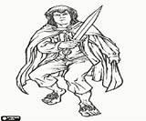 Hobbit Coloring Lord Rings Merry Frodo Meriadoc Aragorn Brandybuck Friends Gandalf Legolas Printable Ring sketch template