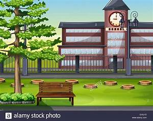 School building and playground illustration Stock Vector ...