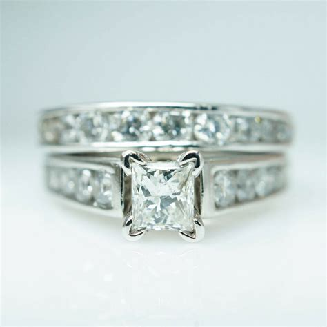 sale vintage platinum diamond engagement ring wedding band complete bridal ebay