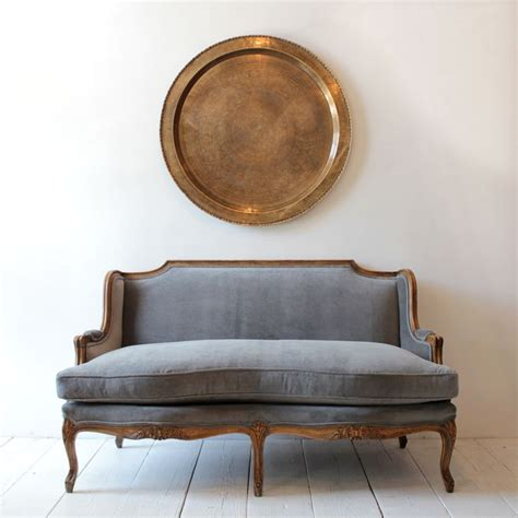 Recovering Settees by Vintage Settee Reupholstered In Grey Velvet From Nickey