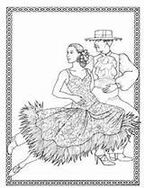 Coloring Dancer Flamenco Spanish Adult Template sketch template