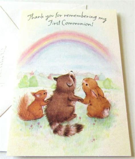 vintage greeting card   raccoon bunny squirrel