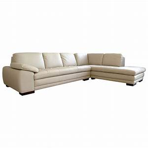 Diana beige leather sofa with chaise dcg stores for Beige leather sectional sofa sale