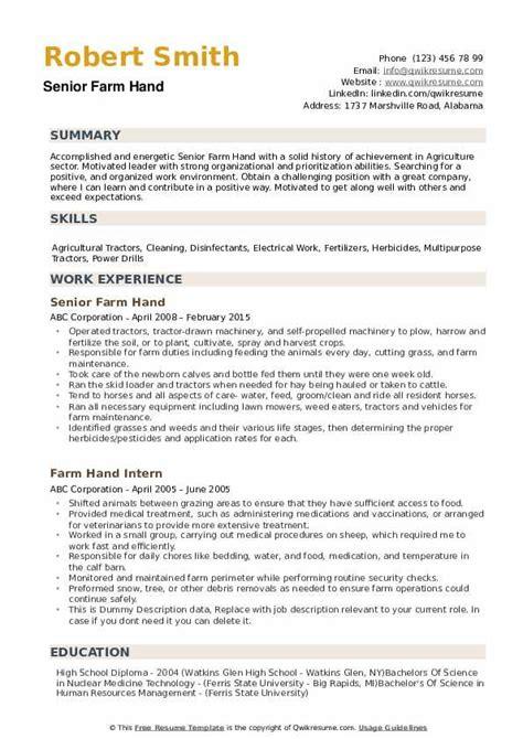 Farmer Resume by Farm Resume Sles Qwikresume