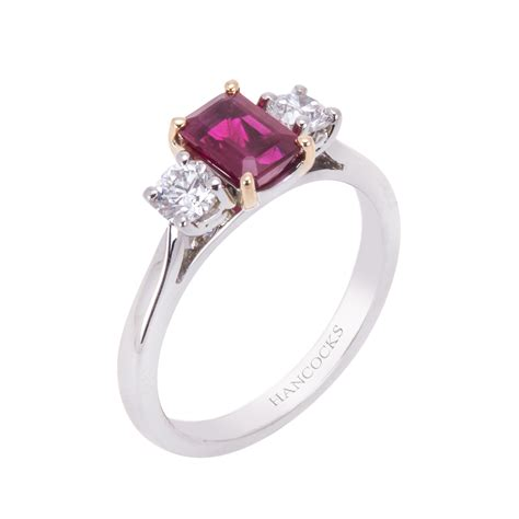 emerald cut ruby and 3 ring hancocks jewellers