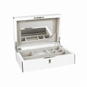 Coffre à Bijoux Bois : coffre bijoux en bois laqu blanc et liser noir laval ~ Premium-room.com Idées de Décoration